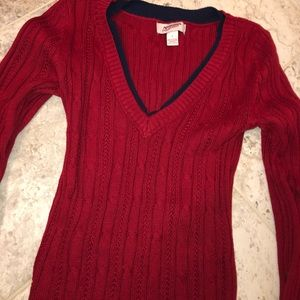 Red and Navy Trim Sweater